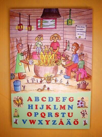 kirjaintaulu lastenhuoneeseen